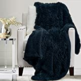 The Connecticut Home Company Soft Fluffy Warm Shag and Sherpa Throw Blanket, Luxury Thick Fuzzy Blankets for Home and Bedroom Décor, Comfy Washable Accent Throws for Sofa Beds, Couch, 65x50, Navy Blue