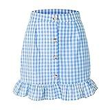 N\P Algodón a cuadros volantes falda cintura alta de un solo pecho botón de la falda femenina de verano femenino falda corta