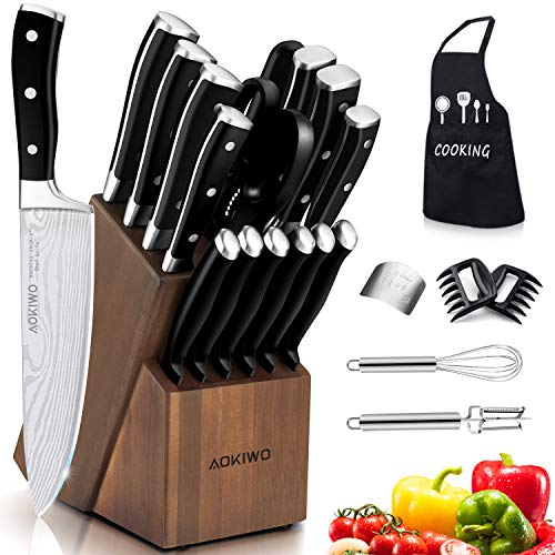 Knife Set, 22 Pieces Kitchen Knife Set with Block Wooden, Germany High Carbon Stainless Steel Professional Chef Knife Block Set, Ultra Sharp, Forged, Full-Tang