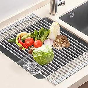 U-Taste Escurreplatos Acero Inoxidable, 52x33 CM Escurreplatos Enrollable Escurridor Platos Escurridor de Fregadero Multipropósito Escurreplatos de Cocina-Gris