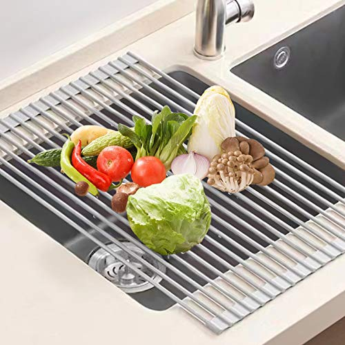 U-Taste Escurreplatos Acero Inoxidable, 52x33 CM Escurreplatos Enrollable Escurridor Platos Escurridor de Fregadero Multipropósito Escurreplatos de Cocina-Gris