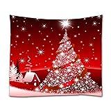 A.Monamour Tapices de Pared Brillo Bling Árbol De Navidad Estrellas Rojas Fondo Decoración...