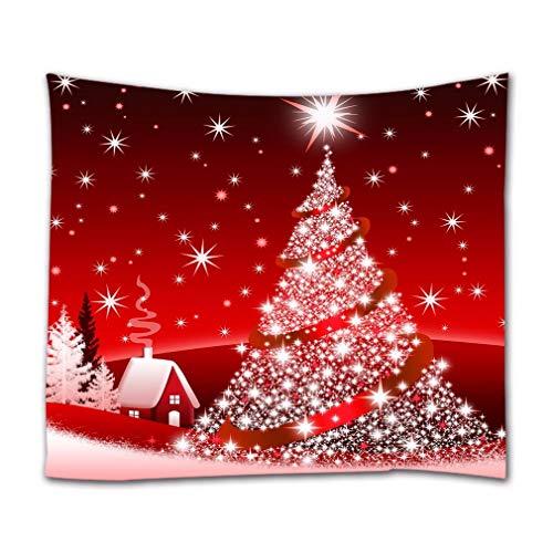 A.Monamour Tapices de Pared Brillo Bling Árbol De Navidad Estrellas Rojas Fondo Decoración Navideña Imagen Imprimir Boho Hippie Mandala Tapiz Mural Mural Cortina Decoraciones Tela Mantel 130x153cm