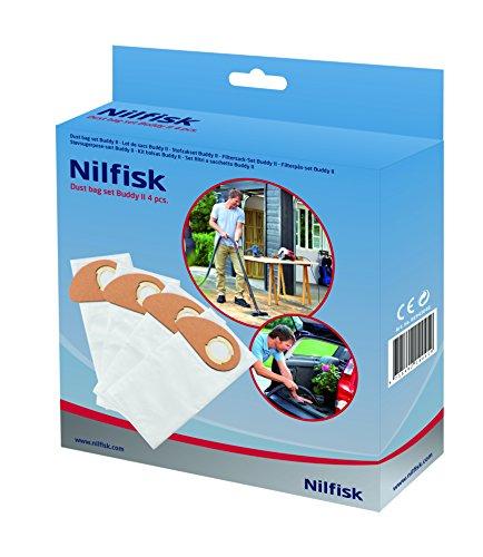 Nilfisk 81943048 Vlies-Filtersack für Buddy II Staubsauger, 12 L/18 L (4 Stück)