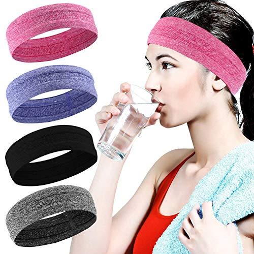 Fascigirl Sport Stirnband, 4 Pcs Schweißband für Frauen Männer Elastische Kopf Band rutschfeste Haarband Sportliche Stirnband Feuchtigkeit Wicking Headwear Haarband...