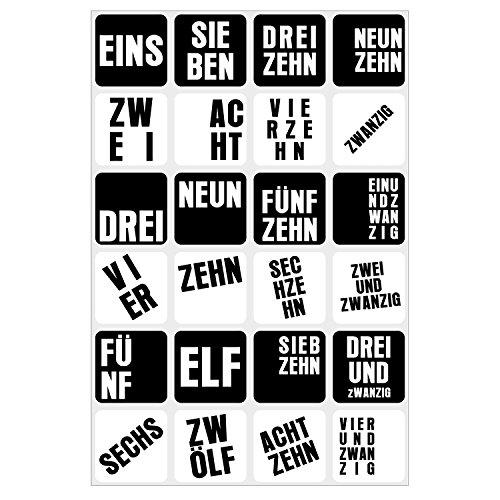 24 Adventskalender-Zahlen-Aufkleber in schwarz weiß I DIY Sticker Set 4 x 4 cm eckig I Weihnachtsaufkleber Geschenk-Aufkleber I dv_051