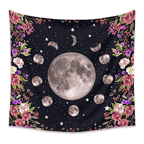 Tapiz de flor de estrella con cambio de luna, alfombra para colgar en la pared, alfombra de tela pinica, tapices de Bohemia, alfombra para decoración del dormitorio del hogar, 150X100CM