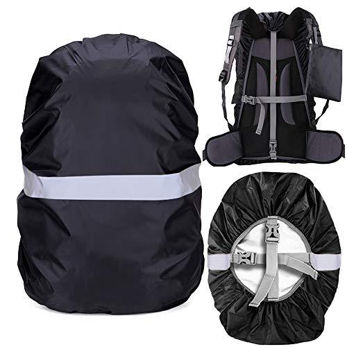 Regenschutz für Rucksack Schulranzen, 100% Wasserschutz Rucksack Cover mit Reflektorstreifen Rutschfester Kreuzschnalle, Perfekt für Camping, Wandern und Outdoor-Aktivitäten (Schwarz, 35L(30-40L))