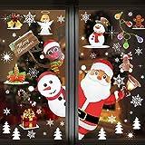 DECARETA Fensterdeko Weihnachtsmann PVC Weihnachtssticker Weihnachten Fensterbilder Fensteraufkleber Weihnachtsaufkleber Fenstersticker Aufkleber für Türen Fenster Vitrinen Glas