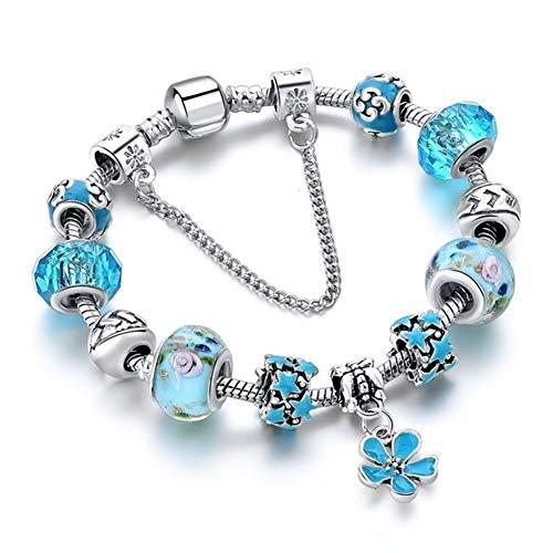 URNOFHW Der freie Wille Blaue Kristall-Korn-Charme-Armbänder Blumen-Armbänder for Frauen Hochzeit DIY Schmuck (Color : Blue)
