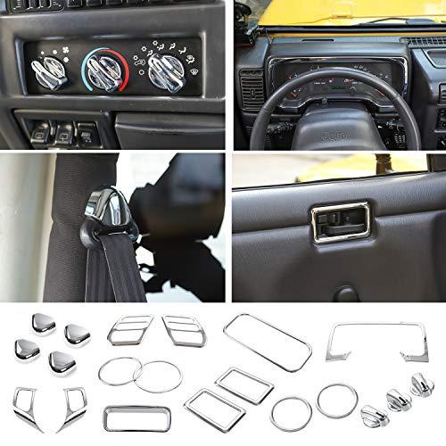 RT-TCZ Chrome Full Set Interior Decoration Trim Kit,Trim For Jeep Wrangler TJ 1997-2006 (20PCS)