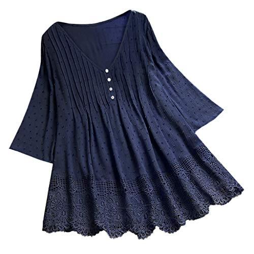 VEMOW Camisola Tops Mujer Vintage Jacquard Tres Cuartos de Encaje con Cuello en V Talla Grande Blusas Superior(Marina,M)