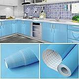 GLOBALDREAM Papel Adhesivo para Muebles, 40cm x 10m Muebles Pegatinas Azul Vinilo Decoracion Papel Pegatina Muebles de Cocina para la Cocina Encimera Oficina de Baño