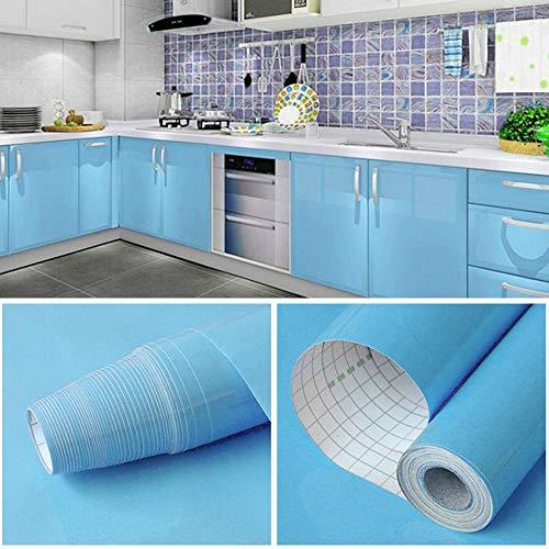 GLOBALDREAM Küchenschrank Folie Bekleben, 40cm x 10m Klebefolie Blau Klebefolie Möbelfolie PVC Tapeten Selbstklebende Tapete für die Küchentheke, Wandaufkleber