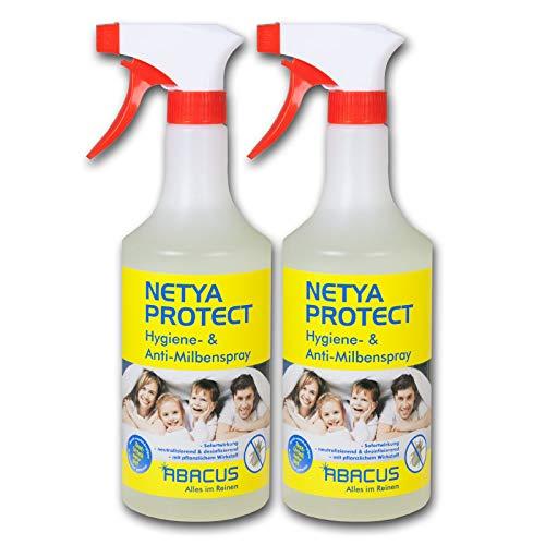 NETYA PROTECT 2x 750 ml (7373) - Hygienespray Anti-Milbenspray Hausstaubmilben-Spray Matratzenspray Bettdecken Kissen Polstermöbel Teppich Gardinen Kuscheltieren - ABACUS