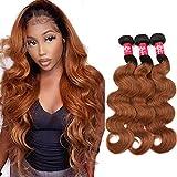 Haha Ombre Body Wave Bundles Honey Brown 1b/30 Human Hair Bundles Ombre Brazilian Virgin Hair Weave Bundles 2 Tone Remy Hair Extension 16 18 20