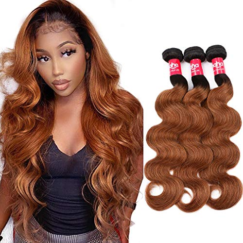 Haha Ombre Brazilian Straight Hair 3 Bundles with Closure 8A Ombre Hair Bundles With Closure 2 Tone T1B/30 Black to Medium Auburn Human Hair Weave Bundles with Lace Closure 20 22 24+18