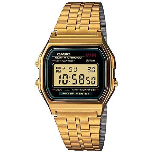 Orologio originale CASIO A159WG-1 acciaio crono data luce oro sveglia vintage