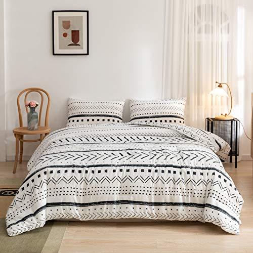 ROSGONIA White Boho Comforter Set Queen- 3pcs (1 Comforter & 2...