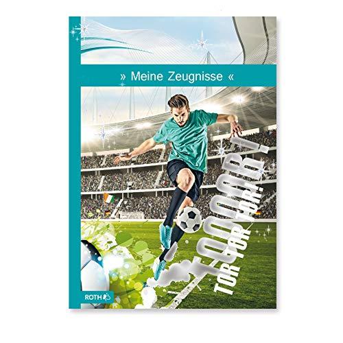 ROTH Zeugnismappe A4 Fußballstar / Fußball - 10 Einlagen für bis zu 20 Zeugnisse - dokumentenecht - Dokumentenmappe