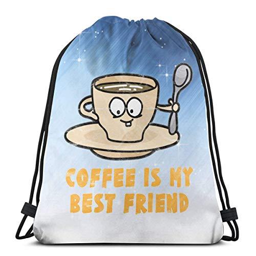 Coffee Is My Best Friend Drawstring Backpack Rucksack Shoulder Bags Gym Bag