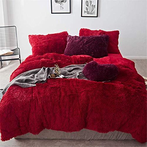 HomeDeluxe 4 Piece Luxury Shaggy Plush Bedding Sets Comforter Cover Set, 1PC Fluffy Faux Fur Duvet Cover + 1PC Velvet Bed Flat Sheet + 2PCS Furry Pillow Shams, Zipper Closure (Red, Queen)