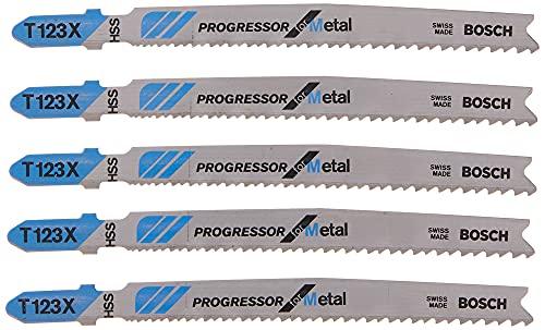BOSCH T123X 5 pieces 4 In. 10-24P TPI Progressor for Metal T-Shank Jig Saw Blades