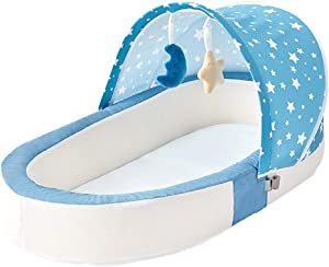 XJJUN Bionic Baby Crib Portable Way Foldable Mosquito Net Handbag Guardrail Heightening Protect The Spine Mesh Cloth Removable  Colors  Styles  Color Blue  Size 87x48x14cm
