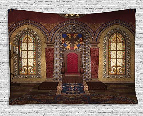 ABAKUHAUS Gótico Tapiz de Pared, Trono Rojo Medieval en Capilla Retrato de Águila Antiguo Edificio de Fantasía, para el Dormitorio Apto Lavadora y Secadora Estampado Digital, 150 x 100 cm, Marrón