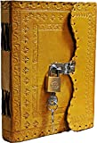 TUZECH Leather Journal for Men and Women Leather Diary to Write Poems,Sketchbook, Record Keeping Notebook Personal Memoir with Lock and Key - Unlined (Yellow)