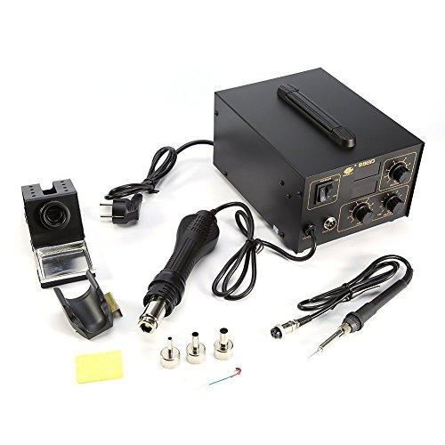 2 in 1 Digitale Lötstation und Entlötstation mit Heißluft und Eisen, antistatische Lötstation mit LED-Display, 800 W, 998D