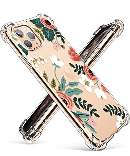 GVIEWIN Compatible with iPhone 11 Pro Case,Clear Flower Design Soft & Flexible TPU Ultra-Thin Shockproof Transparent Bumper Protective Cover,Case for iPhone 11 Pro 5.8 Inch 2019 (Petite Flowers/Pink)