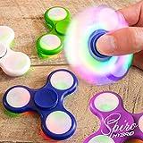 LED Finger Spinner Fidget Hand Spinner Chrome Edition Hand Spiner Tri-Bar Kreisel Anti Stress (Pink mit LED) -