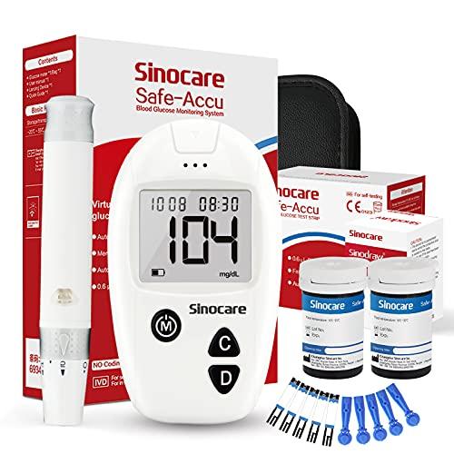 sinocare Safe Accu Blutzuckermessgerät, mg/dL, Blutzuckermessgerät Set mit Teststreifen x50 für Blutzuckerkontrolle, Schmerzfrei, 200 Gruppen von Speicherwerten