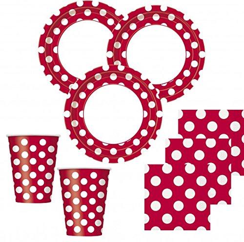 50 Teile Party Set Rot mit weißen Punkten für 16 Personen