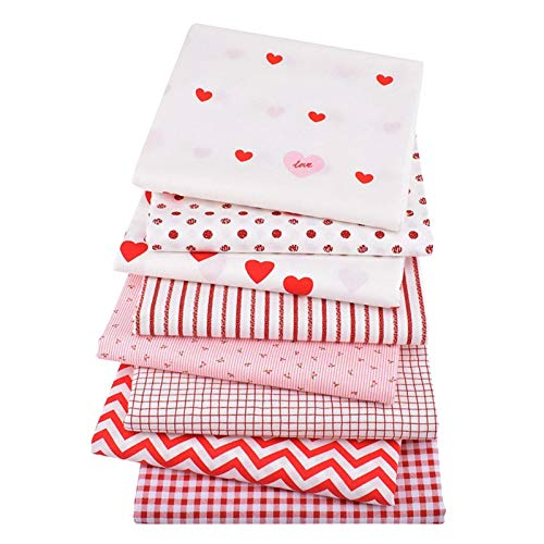 Topaty 8 peças de tecidos de algodão para o Dia dos Namorados Love Heart Fabric Squares Love Fabric Quilting Patchwork, clipes de costura coloridos e régua flexível de costura para o dia dos namorados projetos de costura DIY