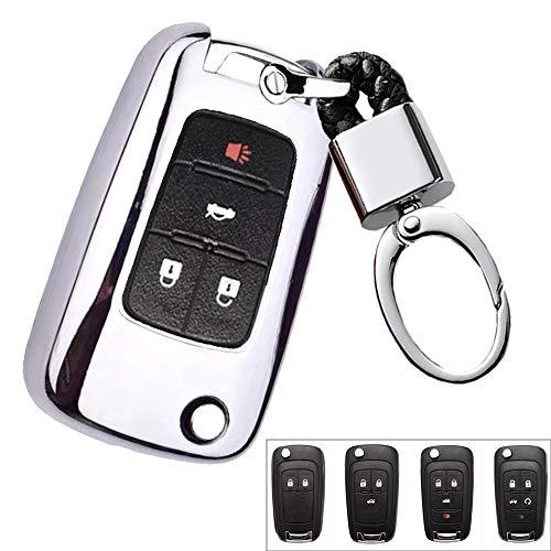ROYALFOX(TM 2 3 4 5 Buttons TPU flip Remote Key Fob case Cover for Chevrolet Camaro Cruze Equinox Malibu SS Sonic Spark Volt Aveo Epica SAIL 3,Buick Lacrosse Encore GL8 Regal Excelle (Silver)