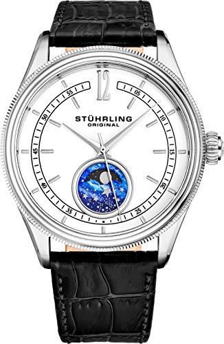 Stuhrling Original Mondphase Dress Watch - Edelstahlgehäuse und Lederband - Analoges Zifferblatt - Celestia Herrenuhren-Kollektion (White)