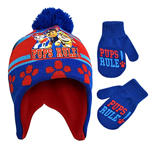 Nickelodeon Winter Hat, Kids Gloves or Toddlers, Paw Patrol's Marshall Baby Beanie for Boy Ages, Blue/red, Mittens-Age 2-4