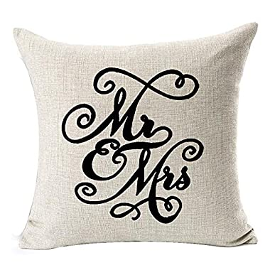 Sweetheart Black Mr and Mrs Valentine's Day Courtship Gift Cotton Linen Decorative Throw Pillow Case Cushion Cover Square 18  X18