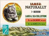 IAMS Naturally Collezione di terra e di mare per gatti anziani 12x85g