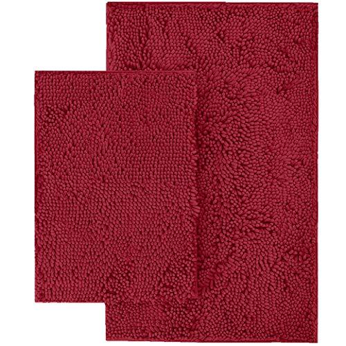LuxUrux Juego de 2 alfombras de baño – Alfombra de baño de felpa extra suave, alfombra de baño de ducha, material de microfibra de chenilla de 2,5 cm, superabsorbente