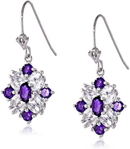 Details about  /Purple Garnet And Topaz Combination Cluster Earring In 925 Sterling Silver Gift.