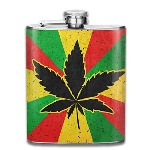 Rundafuwu Frasco para Licor, Stainless Steel Flask Cannabis Marijuana Leaf Rainbow Flag Whiskey Flask Vodka Portable Pocket Bottle Camping Wine Bottle 7oz Suitable For Men and Women
