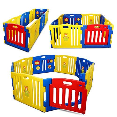 Kidzone Interactive Baby Playpen 8 Panel Safety Gate Children Play Center Home Child Activity Pen