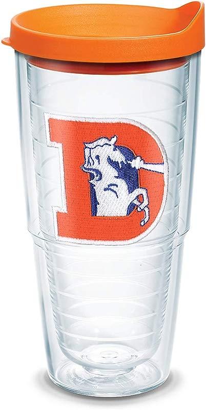Tervis 1039595 NFL Denver Broncos Legacy Tumbler With Emblem And Orange Lid 24oz Clear