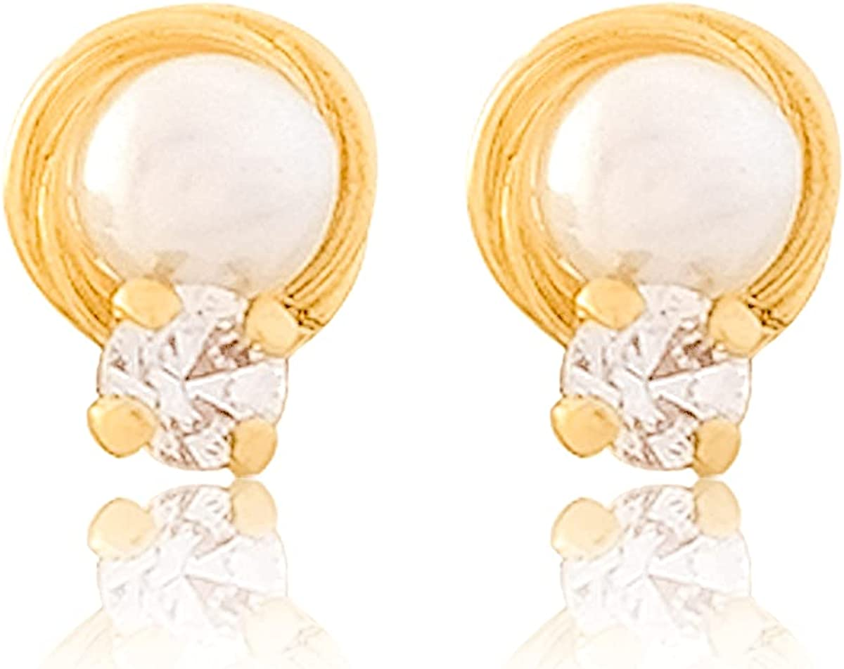 Cufflink Earrings 18k Gold Laminated #585 Ball Shape White Pearl 0.5 cm Length 0.5 cm Width