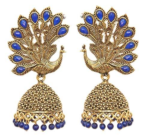 Pahal - Pendientes de oro oxidados con perlas azules tradicionales de color azul