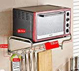 Shelf LYG Küchenregal, Praktisch Wandmontierte Mikrowelle Rack Gewürzkocher Regal Multifunktions Edelstahl Küche Kommoden Sideboards Long 53 / 58cm, 4 Styles (Color : A, Size : 53cm)