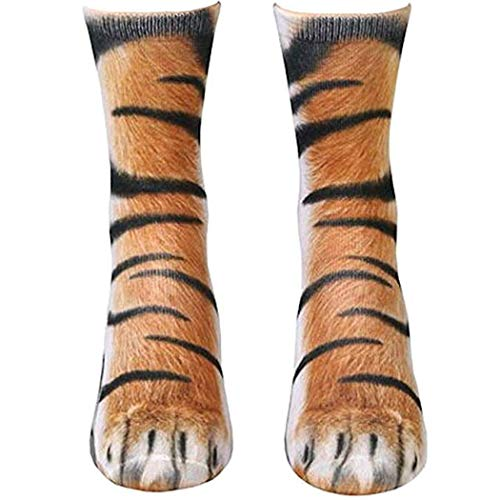 Paw Socks, Animal Paw Socks Paw Print 3D Socks Novelty Fun Cat Dog Crew Socks for Men Women Kids Halloween Gifts (Tiger,Adult US 6-12)